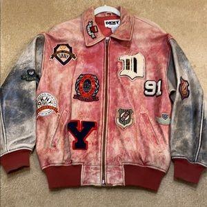 Donna Karen Patch Leather Bomber Jacket Resort